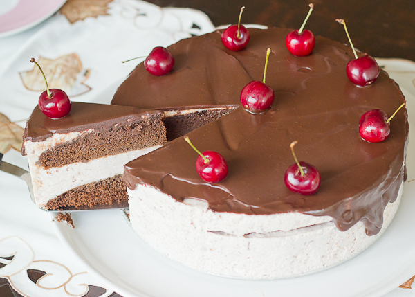 Cherry Mousse Chocolate Cake Baking After Dark