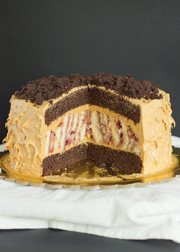 Peanut Butter and Jelly Surprise Cake - Baking After Dark